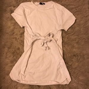 White Tie-Front T-shirt dress